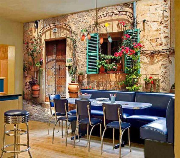 连锁餐厅主题3D壁纸 火锅餐饮背景墙壁画